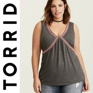 NWT Torrid Ebroidered Design Plus Size Tank Top